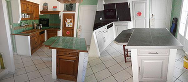 Photo avant-après de la rénovation de cuisine