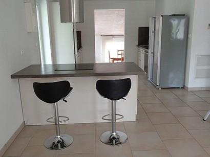 Photo du comptoir d'une cuisine avec une finition béton ciré sur le dessus
